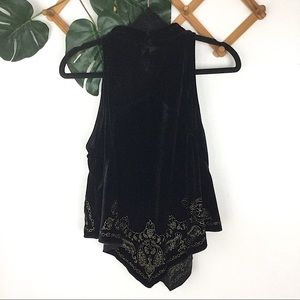 Free People Tops - Free People | Black Velvet Gold Embroidered Tank